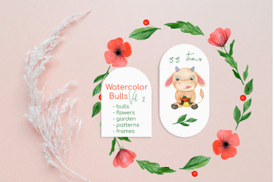 Watercolor Cow and  Bull Clipart