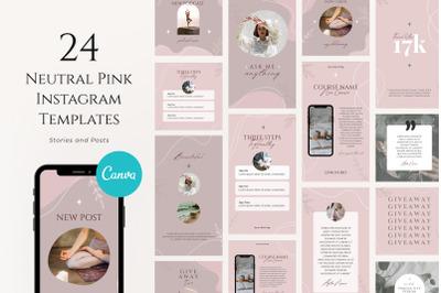 Neutral Pink Instagram Templates