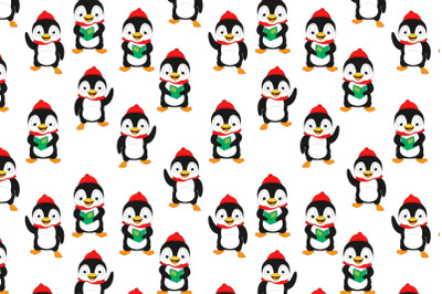 cute penguin animal cartoon pattern