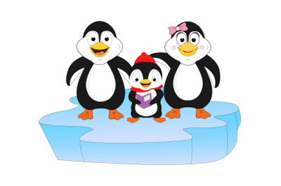cute family of penguin animal cartoon
