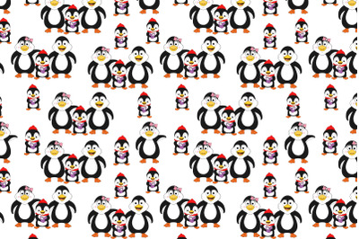 cute family of penguin cartoon pattern