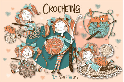 Crochet. Digital cliparts for knitting Svg Png. Girls knits.