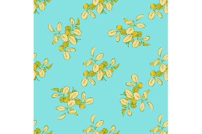 Branches with leaves drawing, colorful foliage seamless pattern abstra