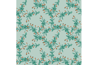 Eucalyptus tree branch with buds drawing, floral seamless pattern, nat