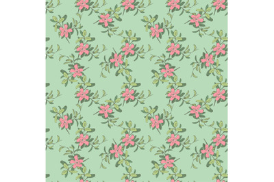 Branches with flowers drawing, bloom in pink colors, floral seamless p