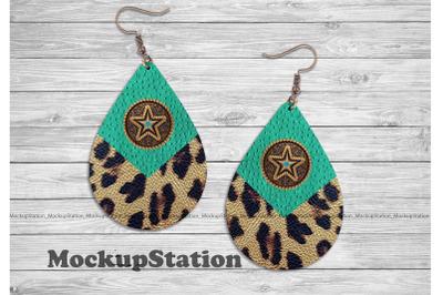 Western Earring Sublimation Design, Texas Cheetah Teardrop Template Do