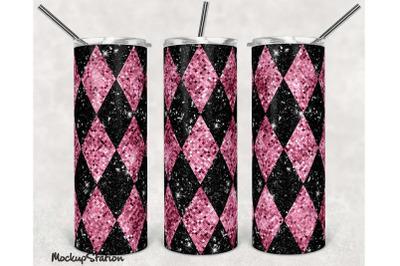 Argyle Pink Glitter 20oz Skinny Tumbler Design Sublimation PNG