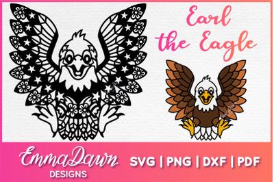 EARL THE EAGLE SVG DXF FCM PNG PDF Mandala Zentangle Design