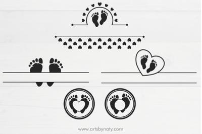 Baby feet - footprint SVG for a monogram.