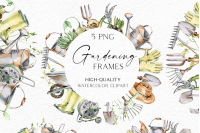 Watercolor gardening frames clipart, Hand-painted garden tools png