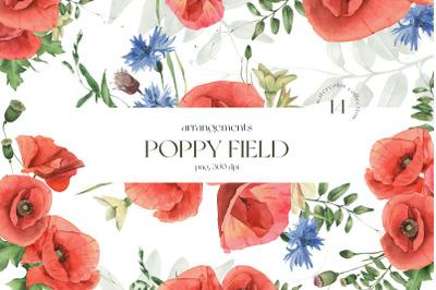 Poppy Field Watercolor Arrangements