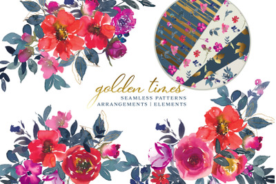 Watercolor Flowers Clipart & Seamless Patterns
