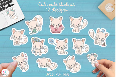 Funny Cats Printable Stickers. 12 cute cats. JPEG. PDF, PNG files.