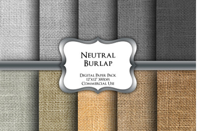 Neutral Burlap Digital Paper Pack