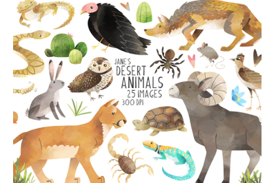 Watercolor Desert Animals Clipart