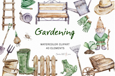 Watercolor Gardening Clipart, Farmhouse Garden Clipart