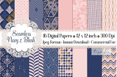 16 Seamless luxury Navy Blush Gold Glitter Digital Papers