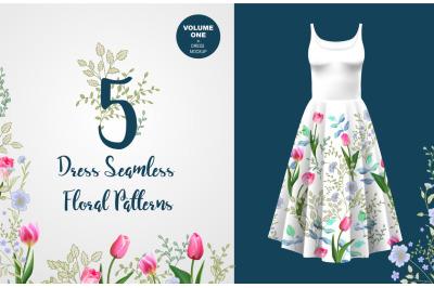 5 Seamless Floral Border Patterns