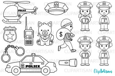 Cops Clipart, Police Officer Digital Stamps
