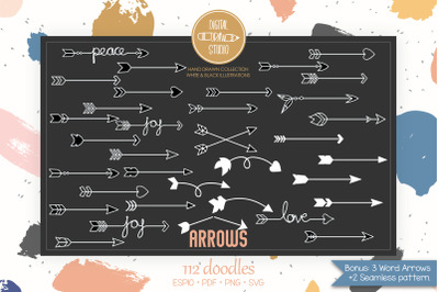 Hand Drawn White Arrows | Tribal, Curly, Crossed, Darts, Boho, Symbol