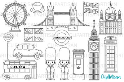 London Clipart, British Digital Stamps, England, Big Ben