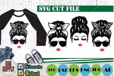Messy Hair Bun SVG Cut File