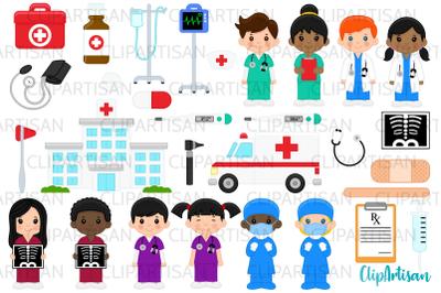 Doctor and Nurse Clipart, Hospital Clip Art, Ambulance
