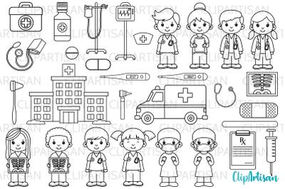 Doctor and Nurse Clipart, Hospital Digital Stamps