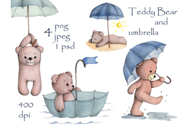 Teddy Bears and Umbrellas. Watercolor illustrations.