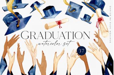 Graduation Clipart, Watercolor Graduation clip art. Grad cap, Diploma
