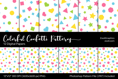 Colorful Confetti Digital Papers