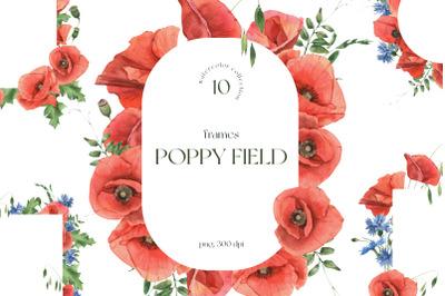 Poppy Field Watercolor Frames