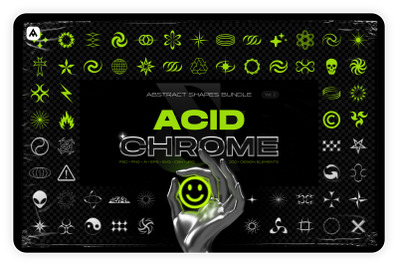 Acid & chrome abstract shapes bundle