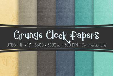 Digital Scrapbook Papers - Grunge Clock