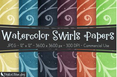 Digital Scrapbook Papers - Watercolor Swirls