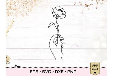 Poppy flower in hand SVG