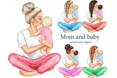 Mothers Day clipart. Mother boy girl clipart, son daughter clipart.