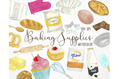 Watercolor Baking Clipart, Cooking Clipart