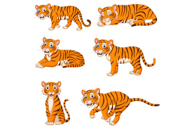 Set of Six Tigers Cartoon Collection