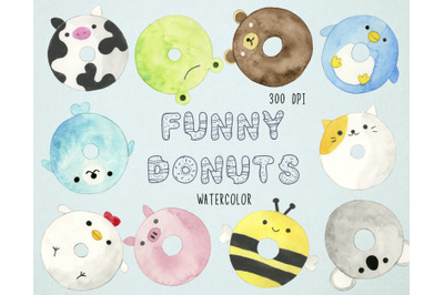 Watercolor Funny Donuts Clipart, Animal Donuts