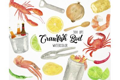 Watercolor Crawfish Boil Clipart