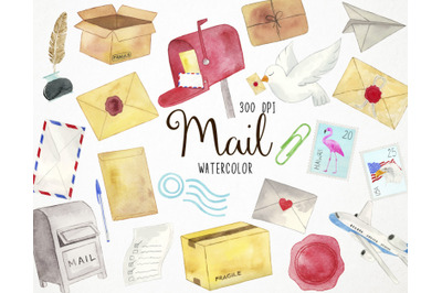 Watercolor Mail Clipart, Postage Clipart