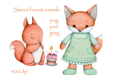 Sweet Forest Animals: Fox and Squirrel.