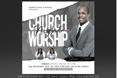 Church Flyer Worship Night