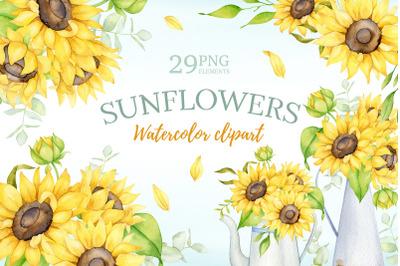Watercolor sunflower clipart, boho floral summer clipart