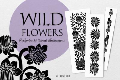 Wild flowers - botanical linocut collection