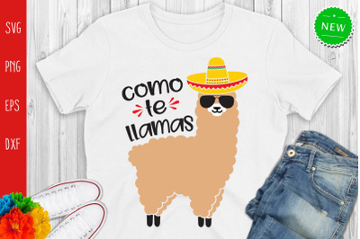 Cinco De Mayo Llama Svg, Como Te Llamas Svg