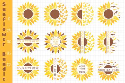 Sunflower Bundle Svg, Sunflower Svg, Sunflower Monogram Svg