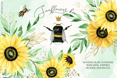 Sunflower bee Watercolor clipart