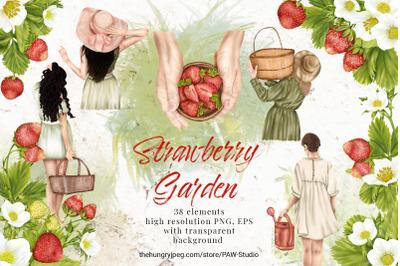 Summer Strawberry Clipart Girl Garden Cottage Flower Leaves